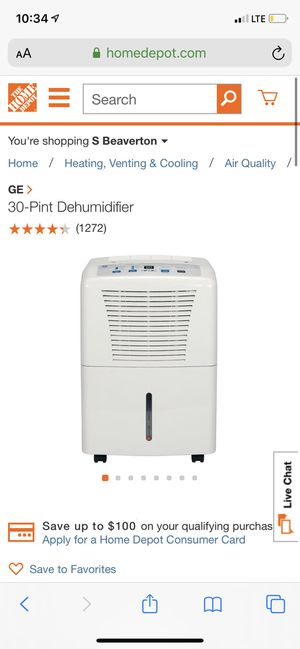 GE 30-Pint Dehumidifier for Sale in Portland, OR