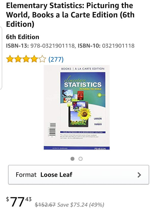 elementary statistics picturing the world 6th edition
