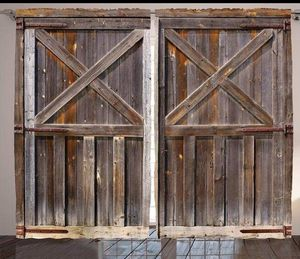 CURTAINS 108 x 90 Rustic Barn Doors Print Backdrop Drapes for Sale in Orlando, FL