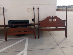 Beautiful queen size all wood bed rail frame for Sale in Arlington, TX