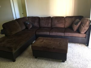 New chocolate microfiber sectional couch with ottoman for Sale in Renton, WA