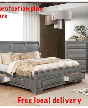 Queen bed frame. Dresser. Mirror. One night stand. Check description QM for Sale in Chino Hills, CA