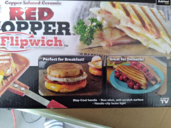 Red copper flipwich pan