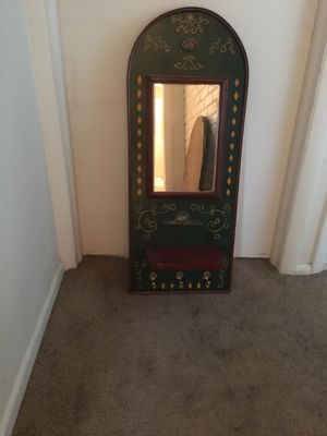 Antique mirror with shelf and hooks for Sale in Red Bank, NJ