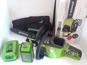 Greenworks chainsaw 17 in brand new works great $170 for Sale in Fort Washington, MD
