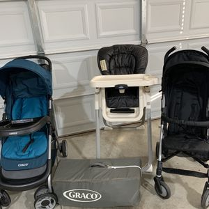 Pack And Play, High Chair, and 2 Strollers 50.00 All for Sale in Murfreesboro, TN