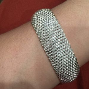 Sterling silver plated mesh bangle bracelet for Sale in Silver Spring, MD