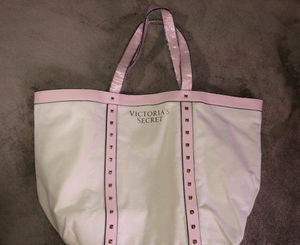 New !! Victoria's Secret large canvas tote studded with pink strap for Sale in NO POTOMAC, MD