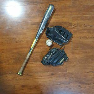 2 Baseball gloves, Bat & ball for Sale in Trenton, NJ
