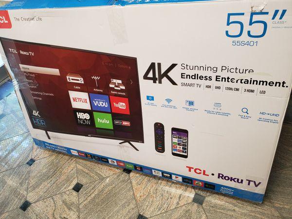 NEW!! 55' TCL 4K UHD/ HDR SMART TV....ROKU TV!!