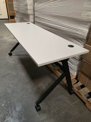 NEW 2 Person HON Flip Base White or Coffee Brown Laminate Office Computer Desk Conference Table 72x24x30 inches Tall Wheels Retail Value $500 for Sale in Los Angeles, CA