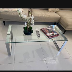 Like New Glass Coffee Table Silver for Sale in Miami, FL