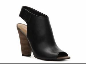 Black leather Charly Amar peep toe bootie, stacked wood heel. Worn once for Sale in New York, NY