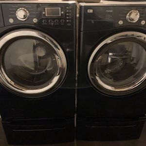 LG Blue Color Set Washer And Electric Dryer Whith Pedestals for Sale in Hayward, CA