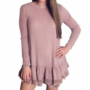 Altar'd State pink long sleeve flowy short mini crewneck dress xs women's for Sale in Fenton, MO