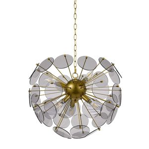 6-Light Hanging Ceiling Sputnik Chandelier Fixture With 6 LED Candle Bulbs (20 x 20 x 17 Inches, Gold) for Sale in Henderson, NV