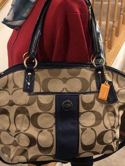 Coach Signature F21899 Stripe Logo Shoulder Handbag Purse Brown for Sale in Laurel,  MD
