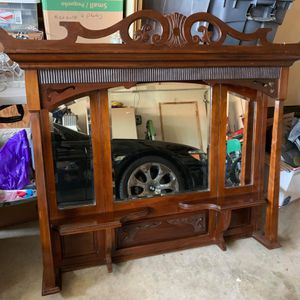 Antique Large Beveled Mirror with Shelf Perfect for Fireplace or Bar for Sale in Simi Valley, CA