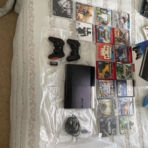 PS3 500 GB Console With Controllers & Games for Sale in Mansfield, TX