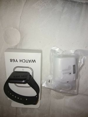 Black bluetooth smartwatch and white bluetooth wireless earbuds for Sale in Hope Mills, NC