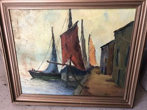 Vintage oil on canvas boat painting signed for Sale in FL, US