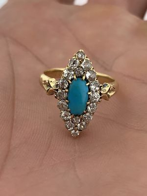 Antique Edwardian~Finest Persian Turquoise & 1.0 Cts Old Mine Diamonds Ring~1911 for Sale in Miami, FL