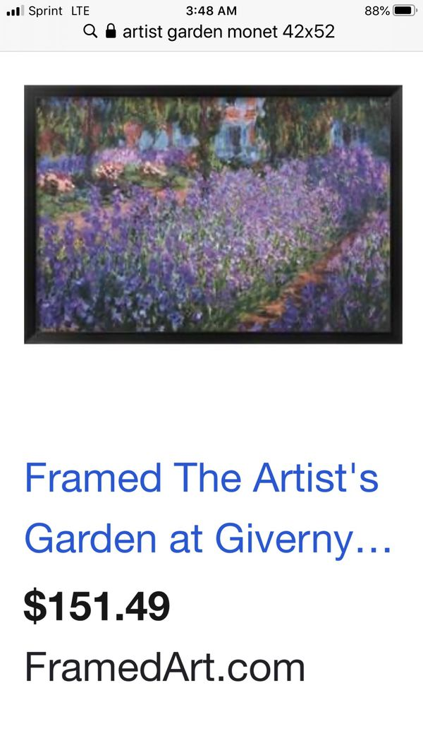 "Framed Picture ""The Artist's Garden at Giverny, c.1900 by Claude Monet"