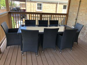 Genuine Ohana Outdoor Patio Wicker Furniture 9pc All Weather Dining Set with/Patio Cover glass top table for Sale in Chicago, IL