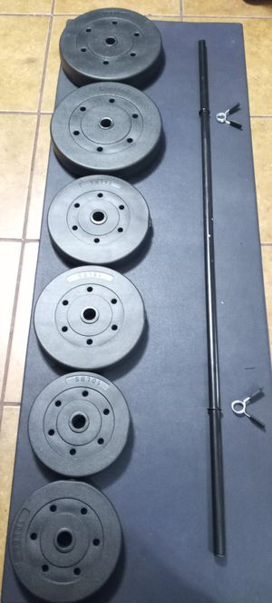 Weights 2x25lbs.2x15lbs.2x10lbs.total .100lbs.plus 5 feet.barbell brand new in box for Sale in Long Beach, CA
