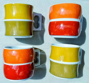 Mid century modern BLOCK CHROMATICS porcelain pop art era cups in gold brown MADE IN GERMANY for Sale in Saginaw, MI
