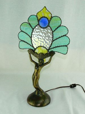 Vintage Art Deco Nude Woman Stained Glass Bronze Lamp for Sale in Boca Raton, FL
