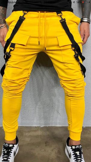 Yellow jogger strap pants new with tags all sizes store pick up for Sale in Los Angeles, CA