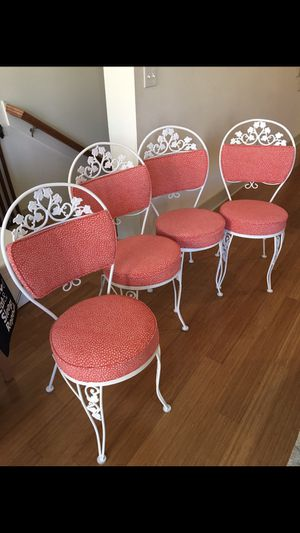 Refurbished antique metal patio chairs. Professionally sandblasted, repainted and reupholstered. Fabric not water proof for Sale in West Lake Hills, TX