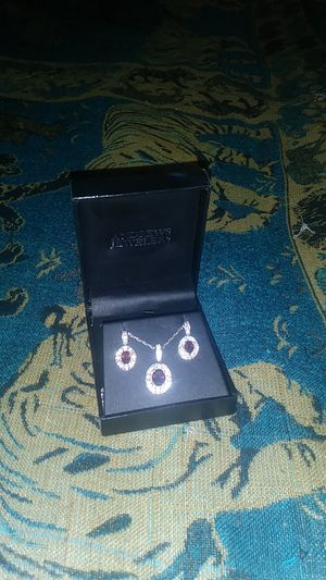 Diamond and Garnet Necklace and Earring set for Sale in Wexford, PA