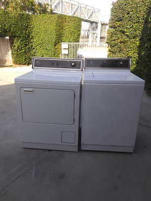 Heavy duty extra large capacity commercial quality very dependable set of washer and gas dryer for Sale in Gardena, CA