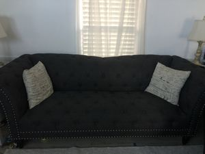 French provincial 3 piece set dark grey woven fabric open to offers couch chair chase lounge perfect for small spaces for Sale in Lititz, PA