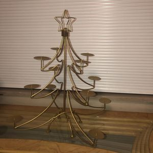 "Golden metal Christmas tree candle holder decoration that comes apart for storage 20""x23"" for Sale in Saint Albans, WV"