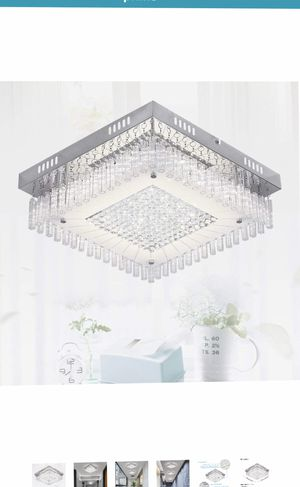 Crystal Chandelier LED Ceiling Light Fixture 4000K Dimmable Flush Mount Ceiling Lamp Square Pendant Lamp for Dining Room, Bathroom, Bedroom, Living R for Sale in Elkridge, MD