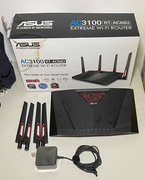 ASUS Dual-Band Gigabit WiFi Gaming Router (AC3100) with MU-MIMO, supporting (RT-AC88U),Black for Sale in Boca Raton, FL