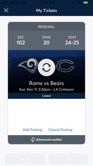 2 Tickets - Chicago Bears vs. LA Rams (Sunday 11/17) for Sale in Los Angeles, CA