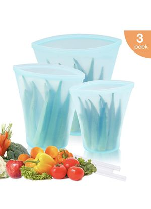 Reusable Silicone Food Storage Bag, Zip Lock Top Leakproof Containers Stand Up Preservation Bag with Slider for Fruits Vegetables Snacks Liquid, Micr for Sale in Montebello, CA