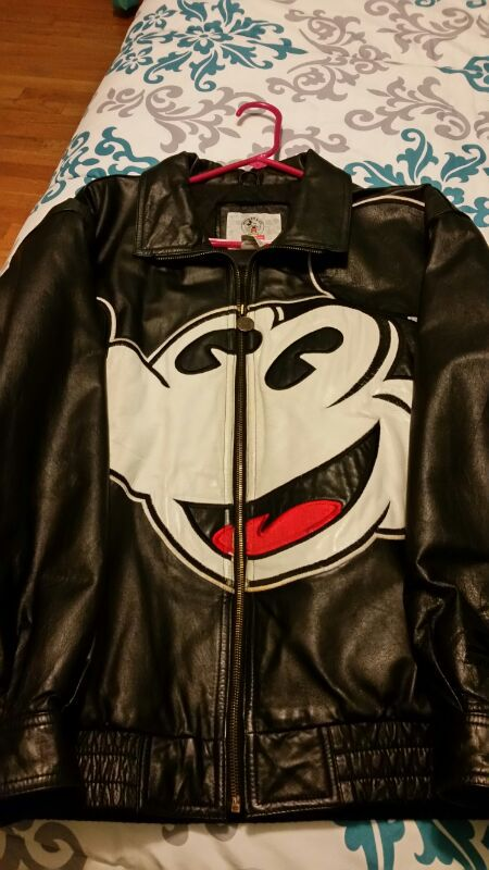Black Leather Mickey Mouse Jacket For Sale In Arnold Mo