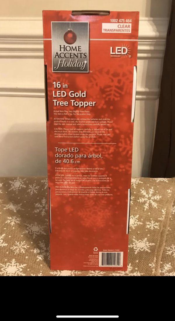 "CHRISTMAS TREE TOPPER - GOLD LED 16"""