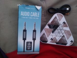 Audio Cable 12ft long and Geometric bluetooth speaker for Sale in Auburndale, FL