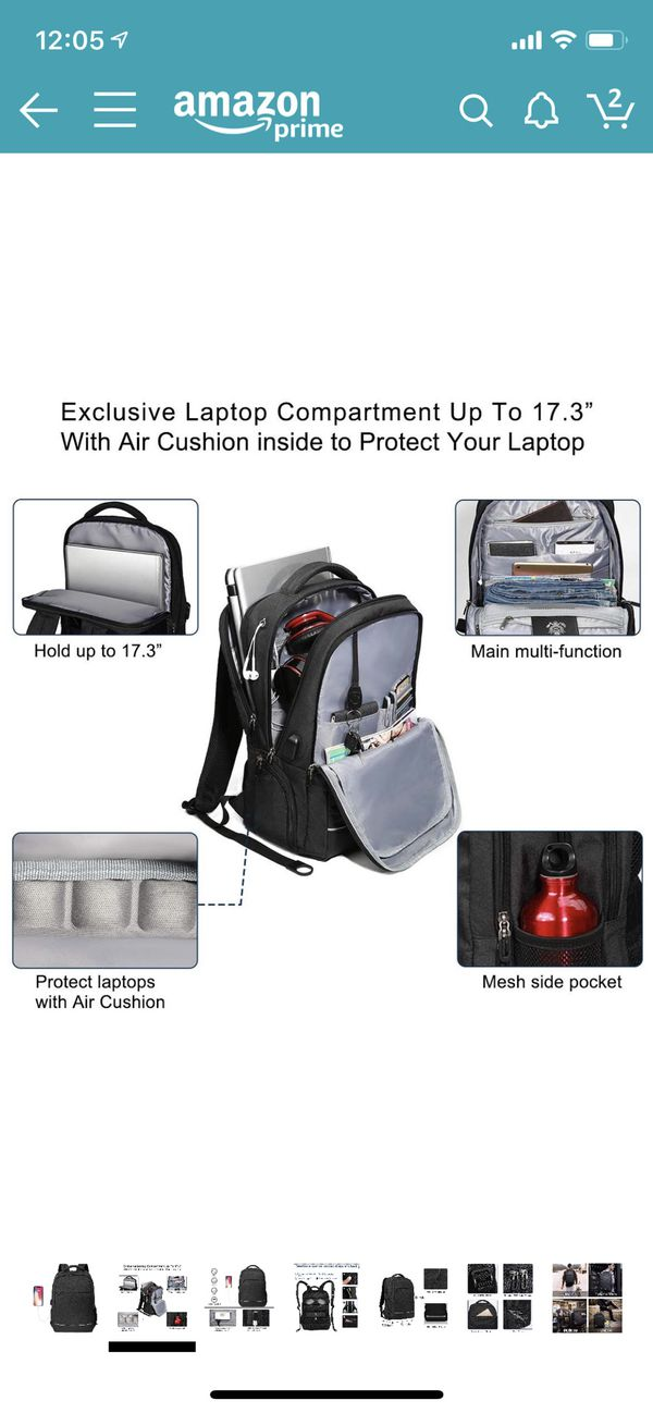 Travel Business Laptop Backpack up to 17.3 inch, Water Resistant College School Computer Bag for Women & Men and Students, Slim Work Backpack for Lap