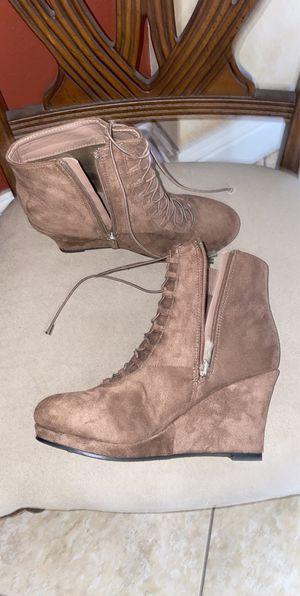 Brown velvet heel boots for Sale in Winter Haven, FL