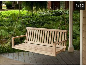 Songsen Outdoor Unfinished 4FT Wooden Porch Swing Chair Patio Deck Garden Furnit $150.48 for Sale in Rancho Cucamonga, CA