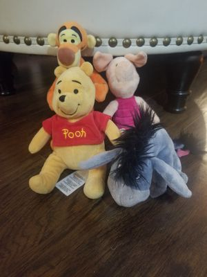 4 Lot Pooh Disney beanbag plush set w/Eeyore Tigger Piglet Collection Stuffed to for Sale in Los Angeles, CA