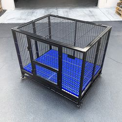 """$160 (new in box) large heavy-duty dog crate 41""""x31""""x34"""" single-door folding cage kennel w/ plastic tray for Sale in Whittier,  CA"""