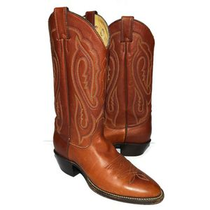 Tony Lama Leather Cowboy Boots Made In USA Mens 7 D Style 1405 Colored Stitching for Sale in Lexington, SC